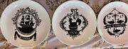 """Salins France Plates Lot 3 9.5"""" Mcm French Rooster Duck Ships Rare Excellent"""