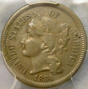 1884 Three Cent Nickel Appealing Rare Only 1700 Business Strikes Pcgs Xf 45 Det