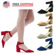 Womenand039s Ankle Strap Pump Shoes Low Chunky Heel Pointed Toe Wedding Dress Shoes
