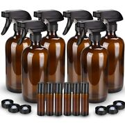 6 Pack Empty Amber Glass Spray Bottle Mist Cleaning Large 16 Oz Refillable