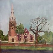 Oil Painting Hand Made Landscape Of Holy Trinity Cathderal Church Built In 1857.