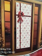 Holiday Time Tinsel Door Cover Panel Stars W Bow Ribbon Christmas Decoration