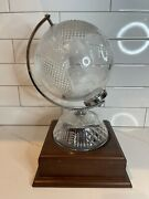 Waterford Crystal World Globe With A Wooden Stand