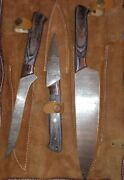 Great Seal Of The State Of Oklahoma Damascus Setknife Wood Handle Leather Sheath