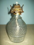 Boston Sandwich Pattern Glass Ring Decanter Made Into Oil Lamp 1830and039s