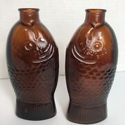 2 Vintage 1920's Amber Wheaton Fish Bottle Dr. Fisch's Bitters 7.5 Tall Mancave