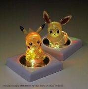 Pokemon 48 Piece Jigsaw Crystal Puzzle 3d Pikachu And Eevee And 2 Display Light New