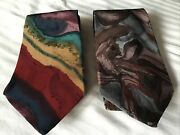 Two Vintage Jerry Garcia J. Garcia 100 Silk Ties Abstract Designs Made In Usa