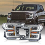 Chrome Full Led Headlights W/ Sequential Turn Signal For 18-20 Ford F-150 Xlt