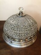 Antique French Crystal Beaded Basket Shade Chandelier Flush Mount Shade 1930s