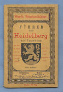 1889 Heidelberg Germany Antique Travel Brochure And 4 Maps 13 1/2 X 16 1/2 Clean