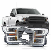 Chrome Full Led Headlights W/ Sequential Turn Signal Born For 18-20 F-150 Xl