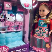 """New 44 Pc My Life As Hello Kitty Bakery Play Set And 18"""" Blonde Bakery Doll Frship"""