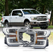 For 18-20 F150 King Ranch Chrome Led Reflector Switchback Sequential Headlights