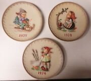 M.j. Hummel Annual Plates Lot Of 3- 1974 ,1975 And 1978 No Boxes Or Coa