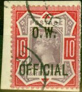 Gb 1902 10d Dull Purple And Carmine Sg035 Office Of Works V.f.u On Small Piece