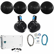 4 Rockville Rmc80b 8 1600w Marine Boat Speakers+2 Wakeboards+amp+wire Kit