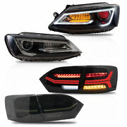 Free Shipping To Pr For 11-14 Jetta Led Headlights Demon Eys+smoke Taillights