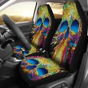 Set Of 2 Pcs Colorful Grim Reaper Awesome Car Seat Covers Skull Car Seat Cover