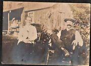 Vintage Antique Photograph Two People Sitting In Rocking Chairs By Barn