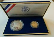 Us Set Of 2 Coins 1 And 5 Constitution 200 Anniversary Gold +silver Coin 1987