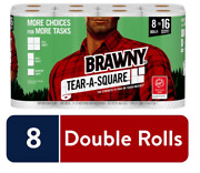 Brawny Tear-a-square Paper Towels - White, Pack Of 8, Double 8=16 Rolls