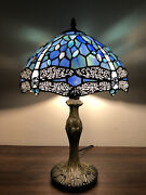 Enjoy Style Table Lamp Sea Blue Stained Glass Dragonfly Vintage 19h12andrdquow