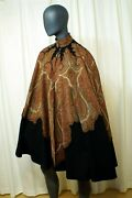 Antique Paisley Tapestry Vintage Handmade Swingy Wool Cape With Passementerie