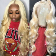 Blonde Pure Human Hair Lace Front Wigs Long Straight Wavy Full Head Wig Womens H