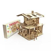 Wooden Dollhouse Vintage Open Type Accessories Three-story Doll House Miniature