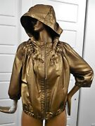 St John Sz 16 Bronze Metallic Light Weight Hooded Zip Jacket