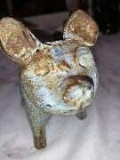 Antique Cast Iron Flying Pig Winged Rustic Solid Rare Oinker Quirky 8andrdquo Patina