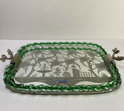 Vintage Murano Glass Etched Mirror Vanity Tray Twisted Green Rope Original Lable