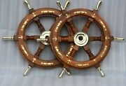 Wooden Ship Steering Nautical Vintage Boat Ship Collectible Home Decor Antique
