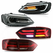 Customized Led Headlights W/dual Beam+red Clear Taillights For 11-14 Vw Jetta