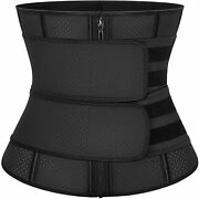 Kiwi Rata Women Latex Workout Waist Trainer Corset With Double Straps Weight Los