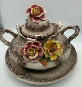 Vintage Capodimonte Covered Tureen And Platter Set Victorian Punch Bowl Amazing