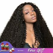 Women Kinky Curly Wigs Swiss Lace Frontal Closure Medium Brown Average Size