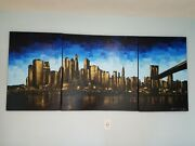 Breathtaking Original Triptych Painting By Joelle Blouin Oil On Canvas