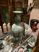 Antique Chinese Famille Verte Vase Late Qing Dynasty
