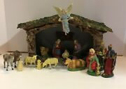 Vintage Christmas Nativity Made In Italy 15 Figures And Crèche Italian Antique