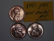 Wheat Penny 19411941d1941s Red Bu Set Of 3 Lincoln Cents 1941-p1941-d1941-s
