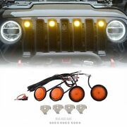 4pcs Led Front Grill Work Light Yellow Shell For Jeep Wrangler Jk 2007-2017