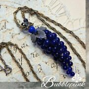 Antique Chinese Export Cobalt Glass Grape Cluster Sterling Silver Chain Necklace