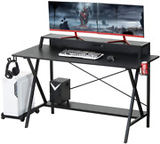 Used 55 Gaming Desk Computer Desk Writing Table Usb Cup Holder Pc Stand Shelf