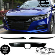 Front Grille Molding Trimandeyelid Cover For 2018- 2020 Honda Accord Glossy Black