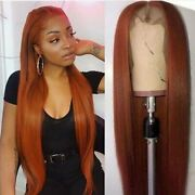 Transparent Straight Hair Wigs Pre Plucked Orange Ginger Top Line Lace Part
