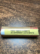 Lincoln Wheat Cent Penny Roll 1916-1939 All Dands Mints 34 Diff. Date/mints