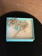 Ooak And Co Necklace Rnd Large Link W/3 Charmstco Bagheart Keyrtt Heart