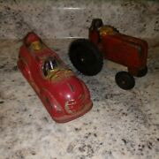 Antique Sun Rubber Mickey Mouse Toy Tractor And Fire Truck Vintage Walt Disney 30s